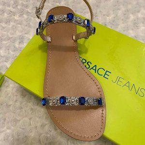 Versace Jeans Blue Glitter Mirror Flat Sandals-37
